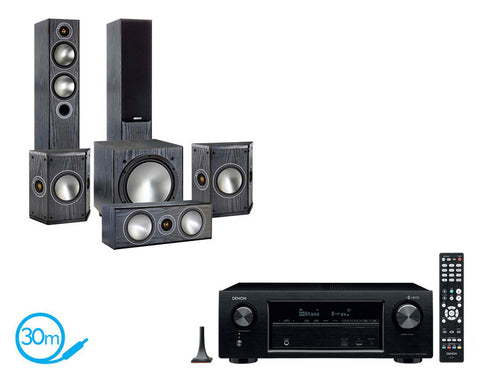 DENON AVR-X1400H AV Receiver & Monitor Audio Bronze 5 - 5.1 Speaker Package