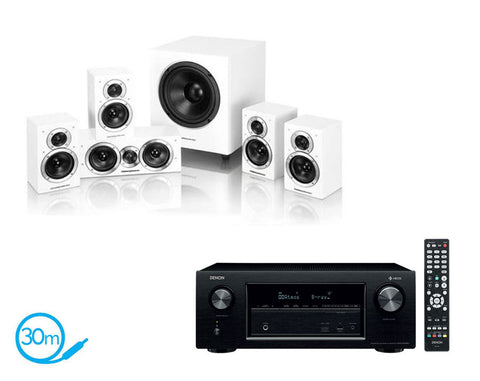 DENON AVR-X2400H AV Receiver With HEOS & Wharfedale DX1-SE - 5.1 Speaker Package