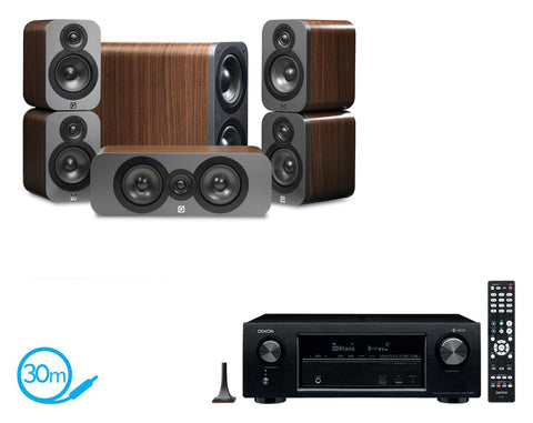 DENON AVR-X1400H AV Receiver & Q Acoustics Q3000 - 5.1 Speaker Package