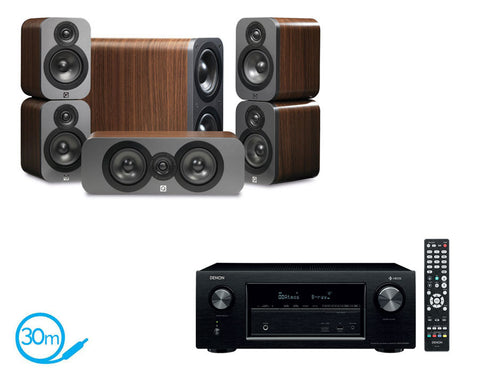 DENON AVR-X2400H AV Receiver With HEOS & Q Acoustics Q3000 - 5.1 Speaker Package