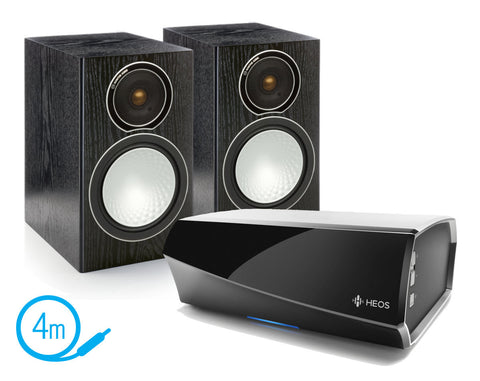HEOS AMP & Monitor Audio Silver 1 Speakers