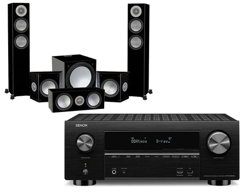 Denon AVR-X3500H AV Receiver & Monitor Audio Silver 200-AV12 - 5.1 Speaker Package