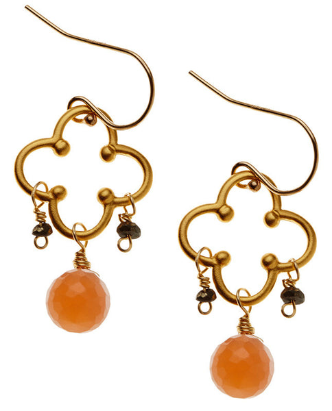 Quatrefoil Drops - Peach Moonstone