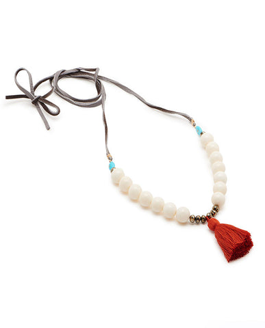 Asheville Tassel Necklace - White Bone