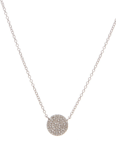 Pave Diamond Disc Necklace - Petite
