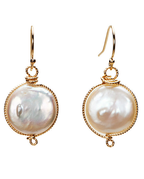 Nottingham Earrings - Coin Pearl