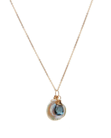 Flake Pearl with London Blue Topaz Necklace