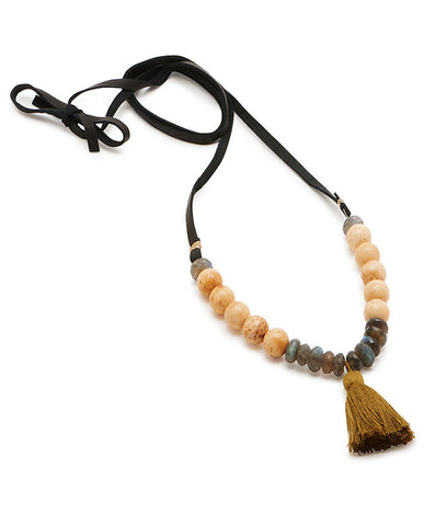Asheville Tassel Necklace - Natural Bone