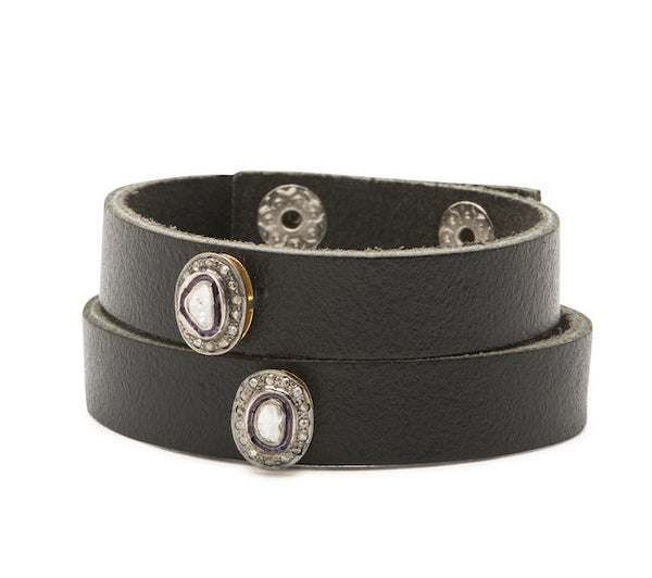 Leather Bracelet with Diamonds