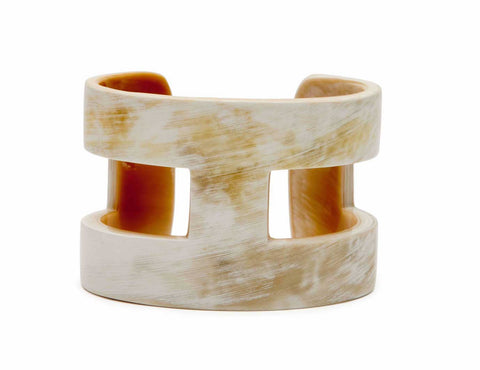 Cream and Black Horn H Cuff