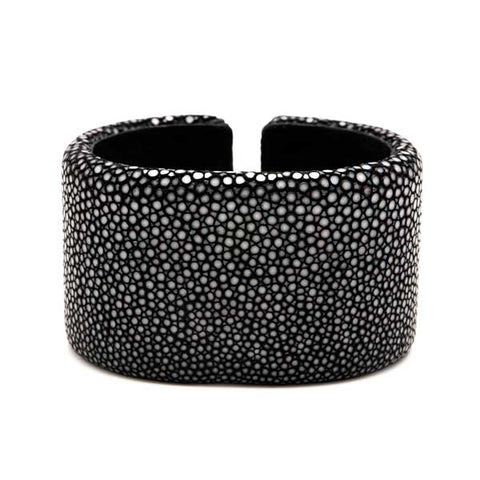 Black Stingray Oval Cuff - 40mm