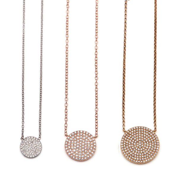 Pave Diamond Disc Necklace - Medium