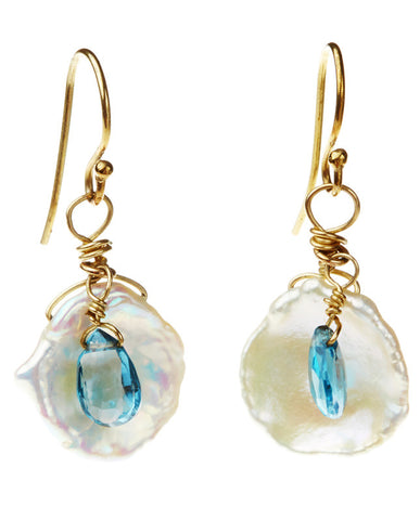Flake Pearl Earrings - London Blue Topaz