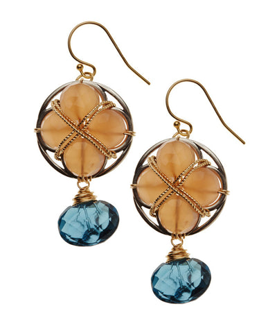 Alhambra Earrings - Blue Topaz & Moonstone