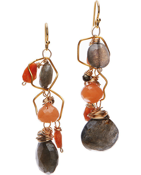 Petaluma Earrings - Peach Moonstone & Labradorite