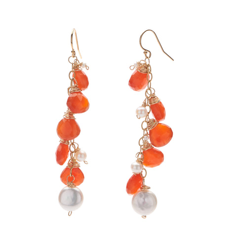 Carnelian Waterfall Earrings