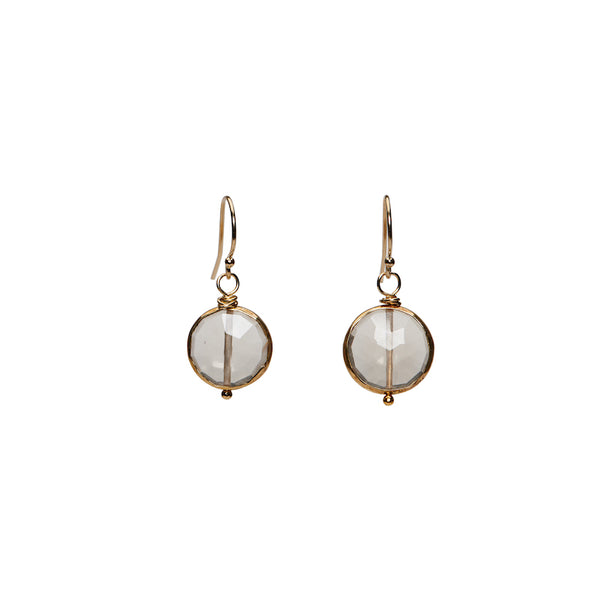 Simple Coin Earrings - Champagne Citrine