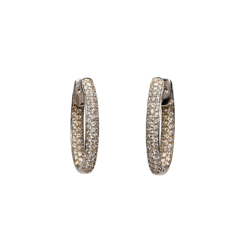 Oval Pave Diamond Hoops