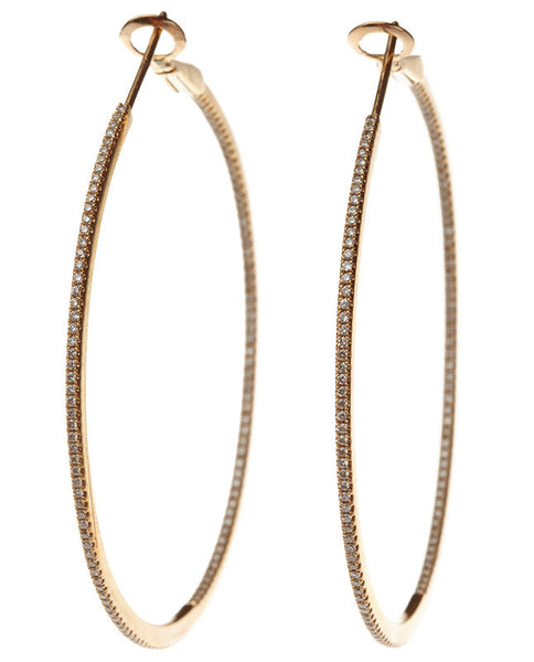 Micro Pave Diamond Round Hoops - Rose Gold