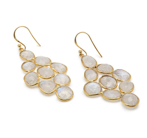 Sea Island Earrings - Rainbow Moonstone