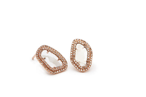 Large Diamond Slice Stud Earrings