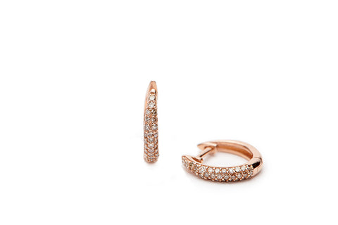 Diamond Pave Huggies - 14k Rose Gold