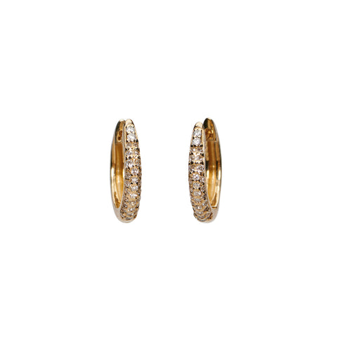 Diamond Pave Huggies - 14k Yellow Gold