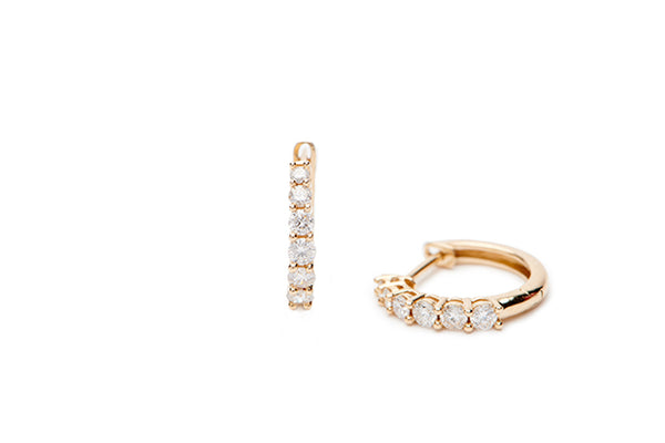 Diamond Huggies - 14k Yellow Gold
