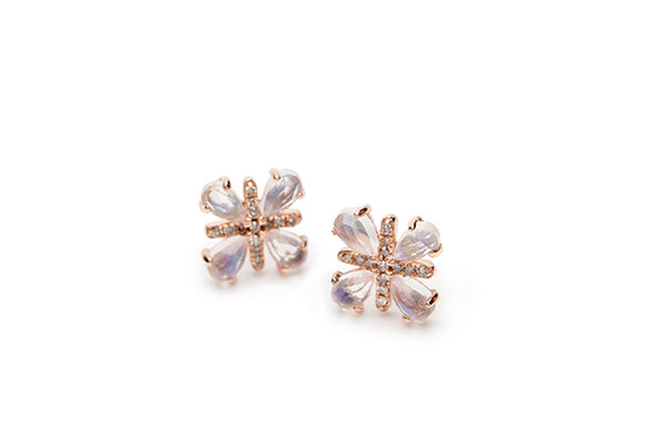 Christoff Earrings - Rainbow Moonstone