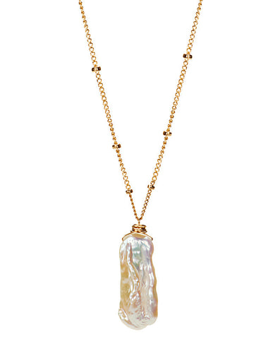 Gem Drop Necklace - Biwa Pearl