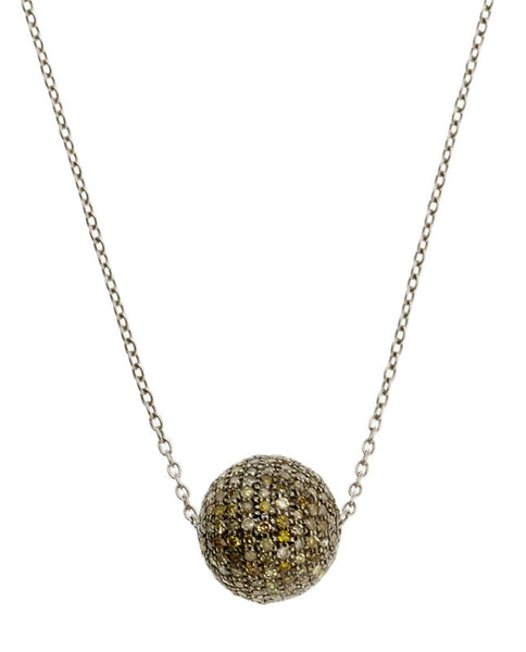Diamond Pave Disco Ball Necklace
