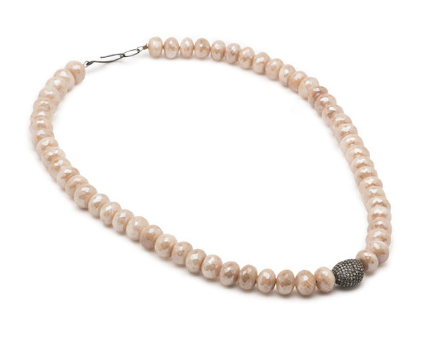 Peach Moonstone Roundels and Pave Diamond Pebble
