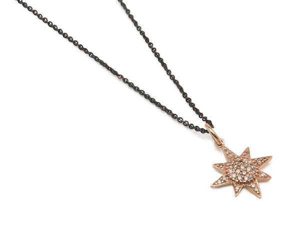 Diamond Starburst Necklace - Rose Gold