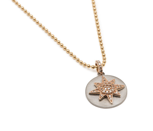 Diamond Starburst Disc Necklace - Yellow Gold