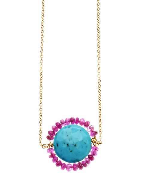 Noe Necklace - Turquoise & Ruby