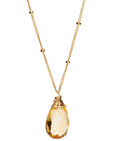 Large Gem Drop Beaded Necklace - Citrine