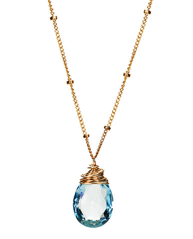 Large Gem Drop Beaded Necklace - Swiss Blue Topaz