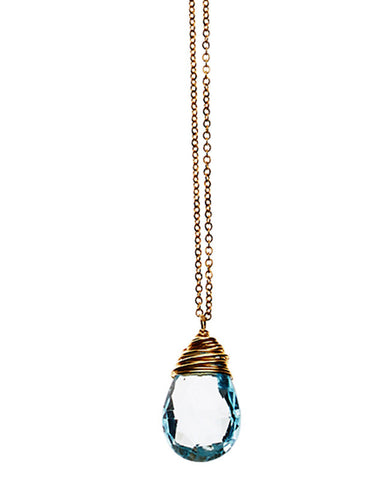 Large Gem Drop Necklace - Swiss Blue Topaz