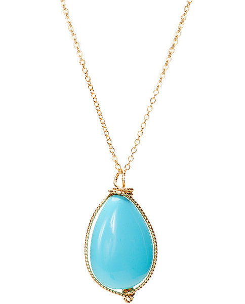 Large Gem Drop - Wrapped Turquoise