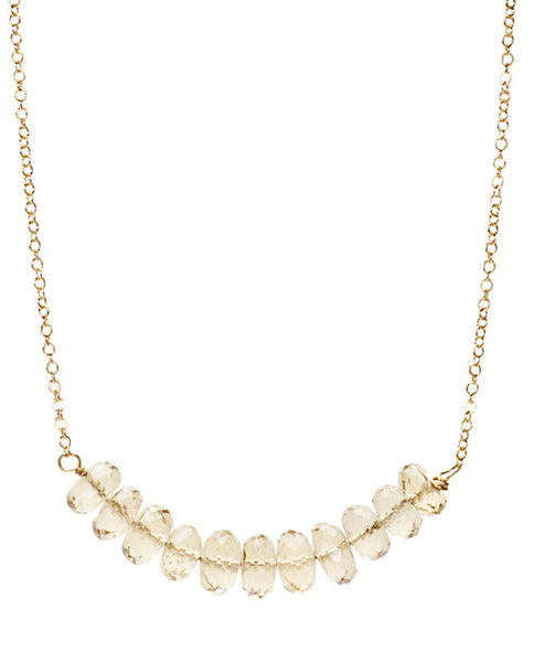 Large Bar Necklace - Champagne Citrine