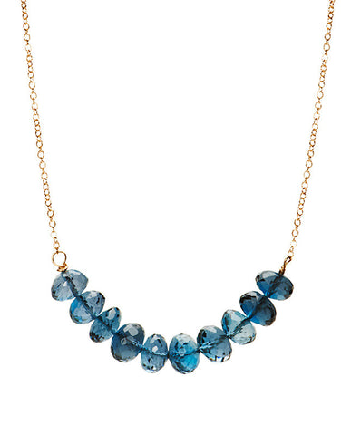 Large Bar Necklace - London Blue Topaz