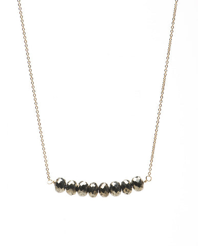 Large Bar Necklace - Pyrite