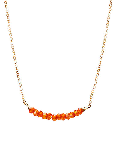 Bar Necklace - Orange Zircon