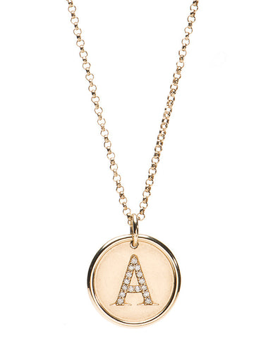 Diamond Initial Disk Necklace