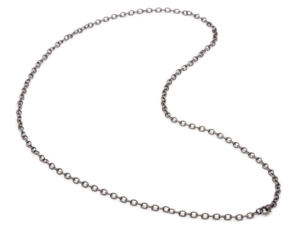 Oxidized Sterling Necklace with Small Diamond Clasp - 36""