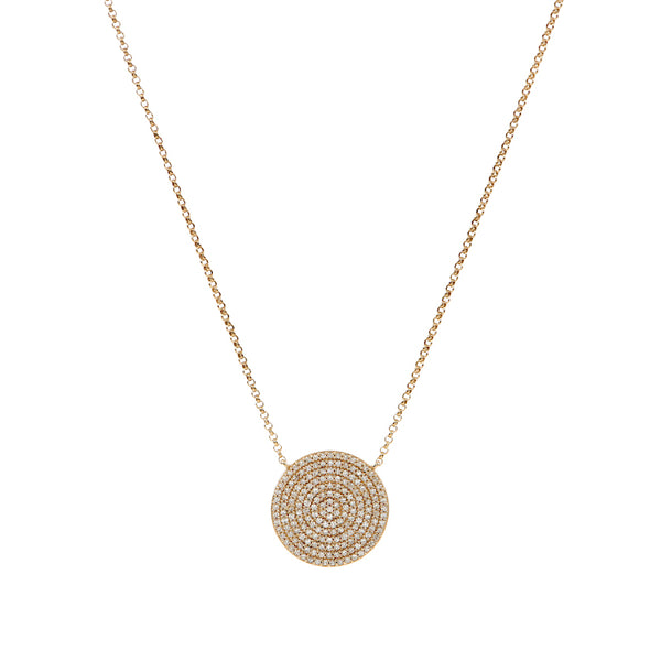 Pave Diamond Disc Necklace - Large