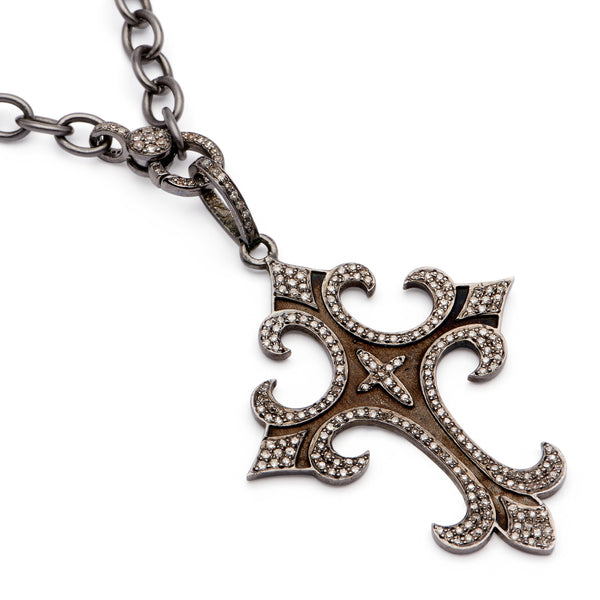 Palonce Cross Pendant - Oxidized Sterling