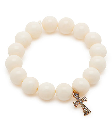 Diamond Milagros Cross - White Bone