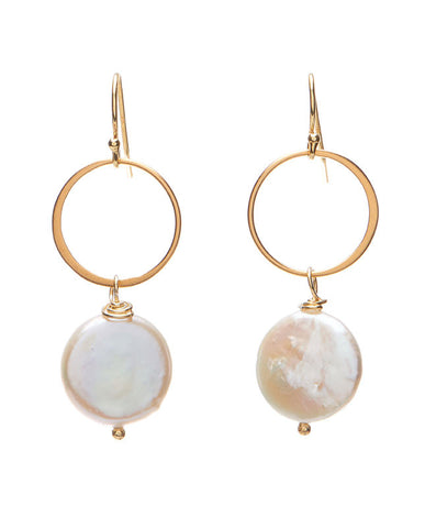 Rutherford Earrings - Coin Pearl