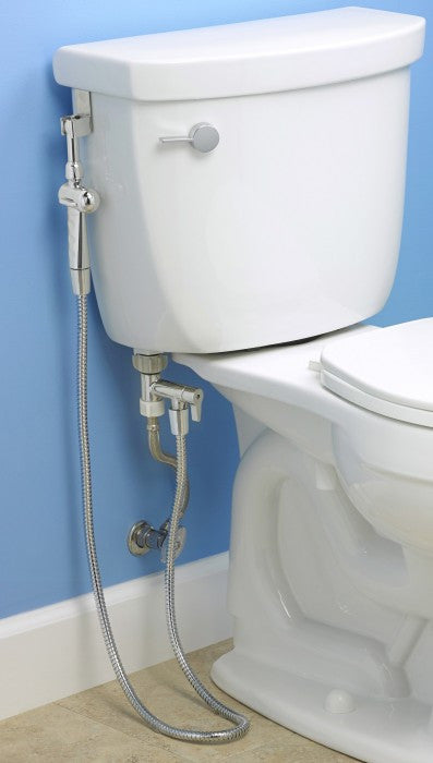 Aquaus 360 Diaper Sprayer installed onto toilet